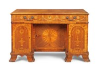 A GEORGE III INDIAN ROSEWOOD, FUSTIC, TULIPWOOD AND MARQUETRY DRESSING-BUREAU